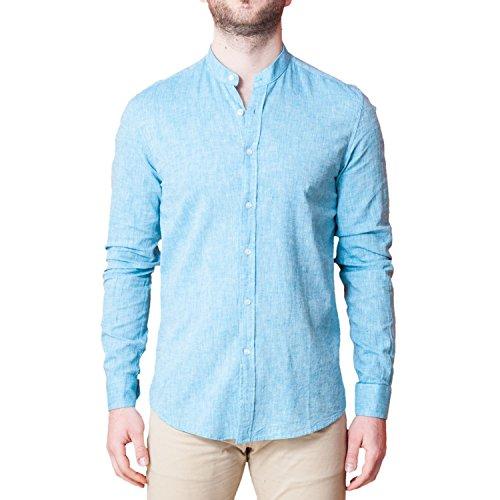 Camicia Uomo Collo Coreano Lino Celeste Elegante Slim Fit Manica Lunga Sartoriale Classica Camicetta Casual sotto Giacca (XXL)