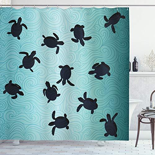 ABAKUHAUS Marine Duschvorhang, Baby-Schildkröten Tief Sealife, Seife Bakterie Schimmel & Wasser Resistent inkl. 12 Haken & Farbfest, 175 x 240 cm, Blaugrün Dunkelblau