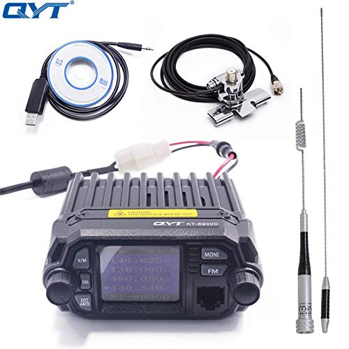 QYT KT-8900D Dual Band Quad Band 25W VHF UHF Display Large LCD Display Mobile Radio+Programming Cable with CD+Antenna + Car Clip RB-400 + 5m Cable Dual Band Quad Band