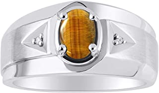 RYLOS 14K White Gold Ring with Oval Shape Gemstone & Genuine Sparkling Diamonds With Satin Finish - 7X5MM Color Stone