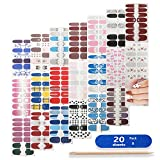 Nail Polish Stickers Full Nail Wraps, Self-Adhesive Nail Art Sticker Set with Nail File and Wooden Stick for Women Girls Daughter Gift DIY Nail Art Decals Decoration Designs, 20 Sheets/280pcs