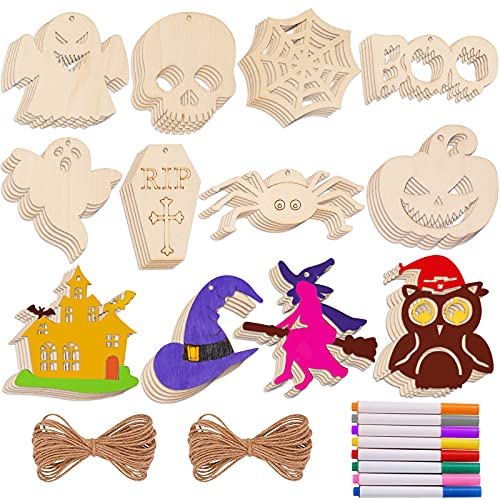 Max Fun 60PCS Halloween DIY Unfinished Wood Ornaments for Crafts Pre-drilled Natural Wood Slices for Kids Crafts Halloween Ornaments Hanging Decorations Gifts