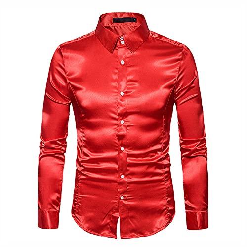 SatN Liso para Hombres Camisa De Esmoquin De Color Puro para Hombres Camisa De Vestir Formal para Hombres Camisa De Manga Larga con Botones Y Botones Camisa De Negocios Informal Camisa Casual De