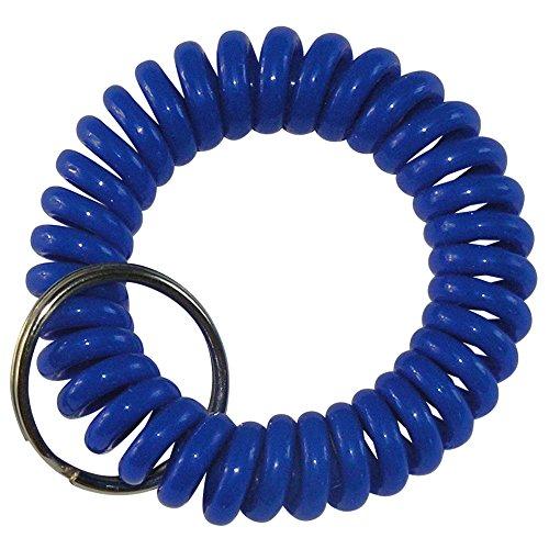keyfix 5 x Schlüsselband, Fitness Spiral Armband für Garderoben Spind Schlüssel, 5er Pack blau, KF14