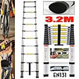 Aluminum Telescoping Ladder Multi-Purpose Telescopic Extension Heavy Duty Compact Ladder Non Slip for...