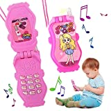 ArtCreativity Pretend Play Flip Cell Phones for Kids, Toddlers - 6 Pack, Cellphone Toy with Songs, Ringtones, Funny Messages and LEDs, Birthday Party Favors and Gifts for Girls - Pink and White