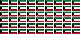 Mini Aufkleber Set - Pack glatt - 20x12mm - Sticker - Kuwait - Flagge - Banner - Standarte fürs Auto, Büro, zu Hause & die Schule - 54 Stück