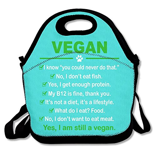 Vegan I Am Still A Vegan Mint Green Lunch Bags Insulated Travel Picnic Lunch Box Tote Handbag With Shoulder Strap For Women Teens Girls Kids Adults
