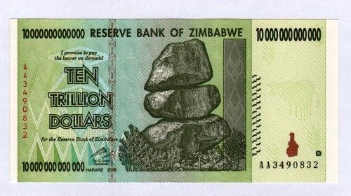 Billete de 10trillones de dólares de Zimbabue