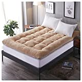 Foldable Mattress, Thick Double Bed Mattress, Single and Double Student Home Dormitory Hotel General Cushion,Camel,1.52.0m