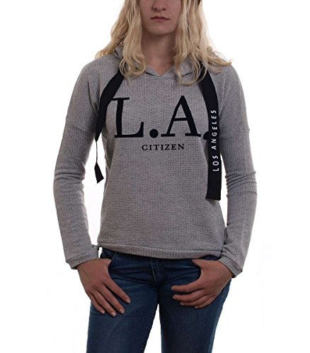 Madonna Sweat Pullover Kaupzenpullover Hoodie CHARDA LA Citizen Print Kordelzug Grau Melange, Größe:XL