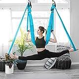 HUKOER Aerial Yoga Swing Set, Fitness Yoga Hamaca Flying Trapeze Yoga Kit Sling Inversion Tool Descompresión de Tela de Alta Resistencia con 6 Manos de Agarre para Gimnasio en casa Fitness