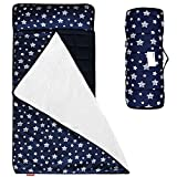 Moonsea Toddler Nap Mat Navy, Removable Pillow and Fleece Minky Blanket, Lightweight and Soft Perfect for Kids Preschool, Daycare, Travel Sleeping Bag for Boys, Designed to Fit on a Standard Cot