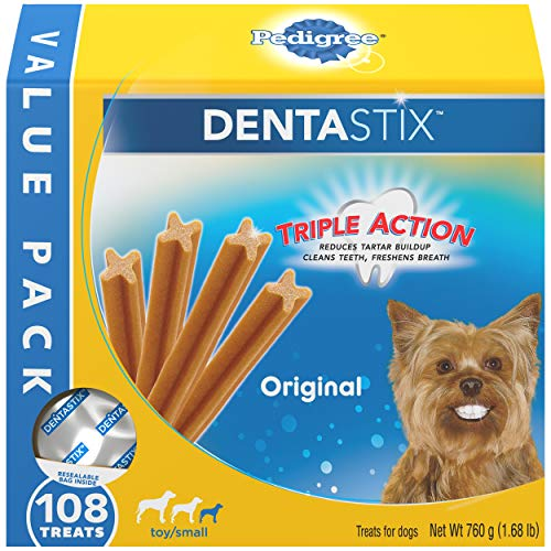 PEDIGREE DENTASTIX Toy/Small Dog Dental Treats Original Flavor Dental Bones, 1.68 lb Value Pack (108 Treats)
