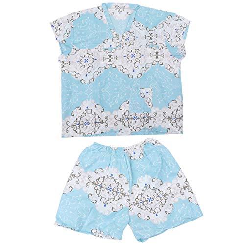 EXCEART 1 Juego de Spa Desechable Bata de Kimono Albornoz de Algodón Pijamas Caseros Ropa de Salón Camisa de Vapor Pantalones Traje para Sauna Salón de Hotel Meditación (Azul Celeste)