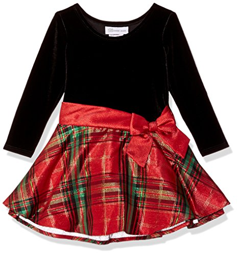 Bonnie Jean Girls' Little Hipster Dresses, red/Green Plaid, 4