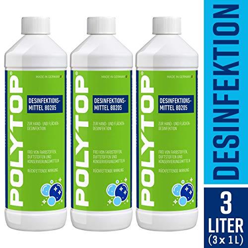 POLYTOP Desinfektionsmittel (3 x 1 Liter) rückfettende Handdesinfektion, Flachendesinfektion, bekämpft Viren, Bakterien, Pilze u.v.m