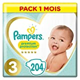 Couches Pampers Taille 3 (6-10 kg) - Premium   Protection Couches, 204 couches, Pack 1 Mois