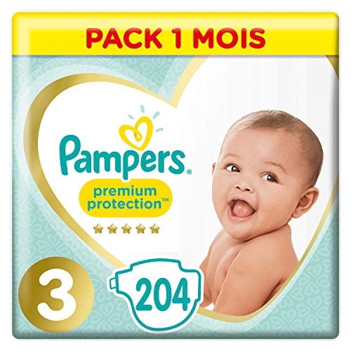 Pampers Premium Protection Taille 3, 204 Couches, 6kg-10kg