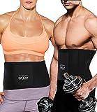 DUROFIT Cinturón de Sudor Fitness Faja Reductora Adelgazante Neopreno Cintura Entrenador Trimmer para Hombres y Mujeres Sauna Effect Trimmer de Cintura con Bolsillo Negro M