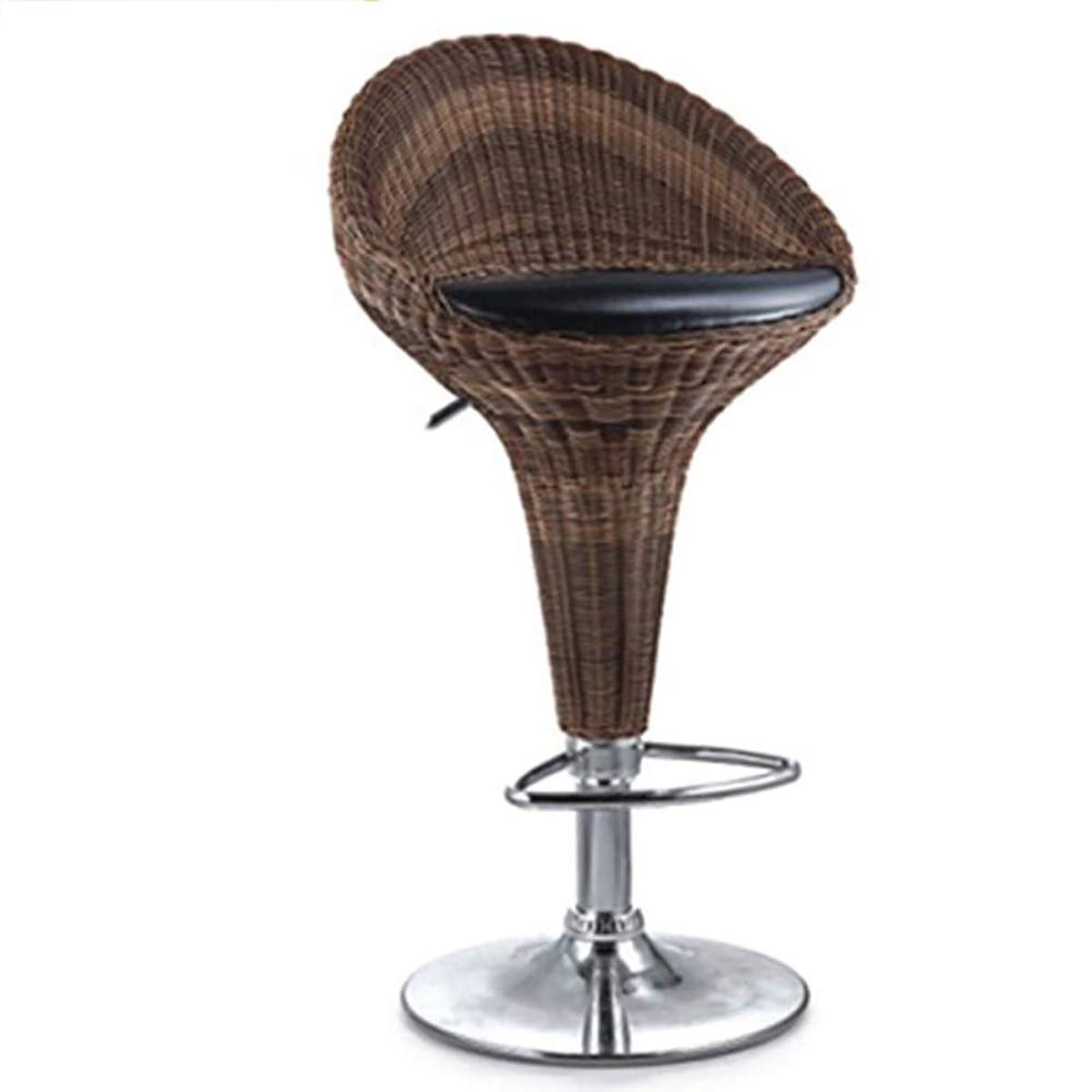 WJT-Barstool Rattan Bar Chair Bar Chair Lift High Stool Creative Bar Chair Simple Modern Back Bar Chair Fashion Rotating Rattan Chair Size: 47×32×81.3-100cm Load Capacity: 200kg