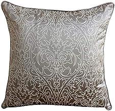 Handmade Gray European Cushion Shams 65x65 cm, Jacquard Euro Pillowcases, Damask, Contemporary European Cushion Covers - G...