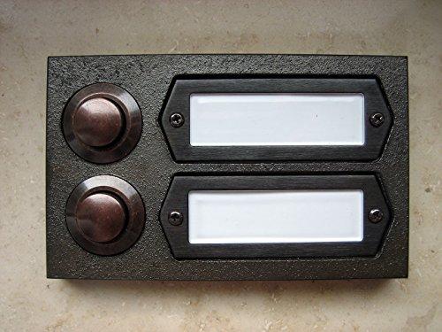 SCHARF metall design Messing Klingel braun strukturiert, Klingelplatte, Klingeltaster, 2-reihig