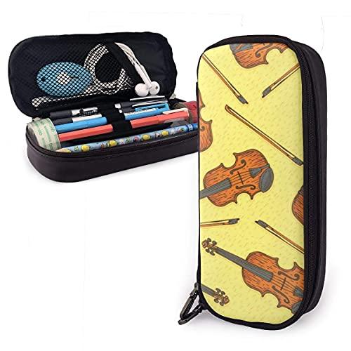Estuche de madera para lápices de violín o violín de piel, con cremallera y soporte para bolígrafos, funda de piel nanoprint para estudiantes, niño y niña, trabajo en casa, oficina