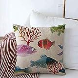 Mengghy Fundas de almohada, funda de almohada, funda de almohada, funda de almohada, decoración del hogar, algas rojas exóticas, patrón de acuarela, peces, pintura de peces, acuario, diseño de coral
