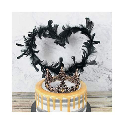 Longhnll - Decoración para tarta hecha a mano, corona de novia, fiesta de cumpleaños, baby shower y boda talla única Corona de diamante + pluma negra.