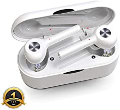 LIUHE Wireless Sports Earbuds Bluetooth 5.0 True Stereo Earbuds,TWS Mini Earphones Dual Built-in Mic Bluetooth Headphones with1000mAh Charging Case for 40 Hours Extended Playtime (White)