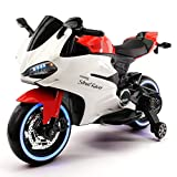 Street Racer 12V Battery Power Motorized Electric Kids Ride-On Motorcycle Bike + EVA Foam Rubber LED Wheels + Leather Seat + MP3 Music Player + Spring Shock Suspension + Training Wheels (Red)