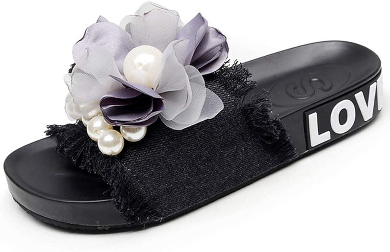 GIY Women Slides Slippers Slip-on Open Toe Flower Espadrille Soft Flat Platform Summer Beach Indoor Outdoor Sandals