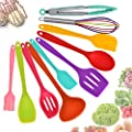 Aybloom Silicone Kitchen Utensils Set - 10 Pieces Multicolor Silicone Heat Resistant Non-Stick Kitchen Cooking Tools