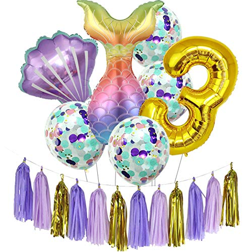 Longwu Mermaid Birthday Party Supplies for Girls, Happy Birthday Decoration Set With 32'' Number, Big Shell Mermaid Tail Foil Balloons, Confetti Latex Balloons-3