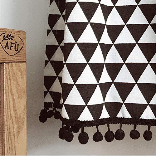 Gabinete de cortina de cocina, cortinas cortas American Country Geometry, blanco y negro, algodón,cortina corta, puerta de gabinete de cocina, polvo, medias cortinas, 1 pieza,W145xH160cm(57x63inch)
