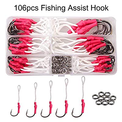 106pcs Fishing Assist Hooks Tackle 420 Stainless Steel Jigging Assist Fishing Hooks Kit with Strong PE Line Split Rings