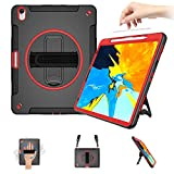 SUPFIVES iPad 12.9 Case 2018 (NOT for 2020 Model) with Pencil Holder Support Apple Pencil Charging+Shoulder Strap+Hand Strap+Stand Heavy Duty Carrying Handle Case for iPad Pro 12.9 Inch-Red+Black