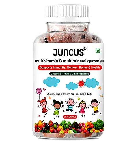 JUNCUS Multimineral & Multivitamin Jelly Gummies - An Ideal Vegetarian, Gluten-Free Immunity Booster Dietary Supplement for Kids, Teenagers, and Adults, Contains Fruit Pulp, 30 Gummies