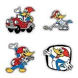 Woody Woodpecker Cartoon Graphics Bumper Sticker Aufkleber Decal - Set of 4 Pieces - Longer Side 13 cm