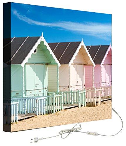 Decoralive Wandbild mit Hintergrundbeleuchtung Strandhäuser 50.00x50.00x5.00 cm bunt
