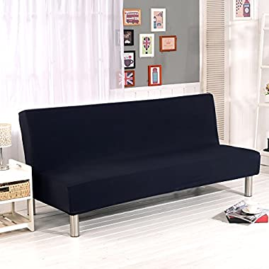 Aneil Sofa Bed Cover Futon Slipcover Solid Color Full Folding Elastic Armless 80 x 50 in (Black)