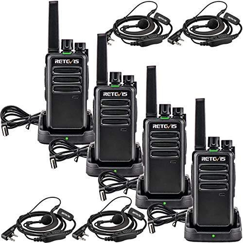 Retevis RT668 Funkgerät mit Headset Lizenzfrei Notfall 16 Kanäle CTCSS/DCS PMR Funkgerät Scan Rauschsperre VOX Walkie Talkies Set Wiederaufladbarer 2 Way Radio(Schwarz, 4 Stück)