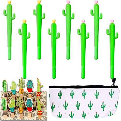 30 Pieces Cactus Creative Stationery Set Cactus Shaped Rollerball Pen Cactus Pencil Bag and Cactus Clip for School Office Supplies