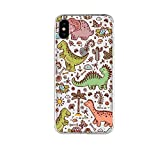 iPhone X Case/iPhone Xs Case,Blingy's Transparent Clear Dinosaurs Style Protective Soft TPU Rubber Case Compatible for iPhone X and iPhone Xs (Cartoon Dinosaurs)
