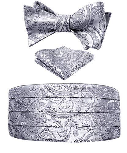 Men's Floral Paisley Silk Cummerbund & Self Bowtie and Pocket Square Set Grey