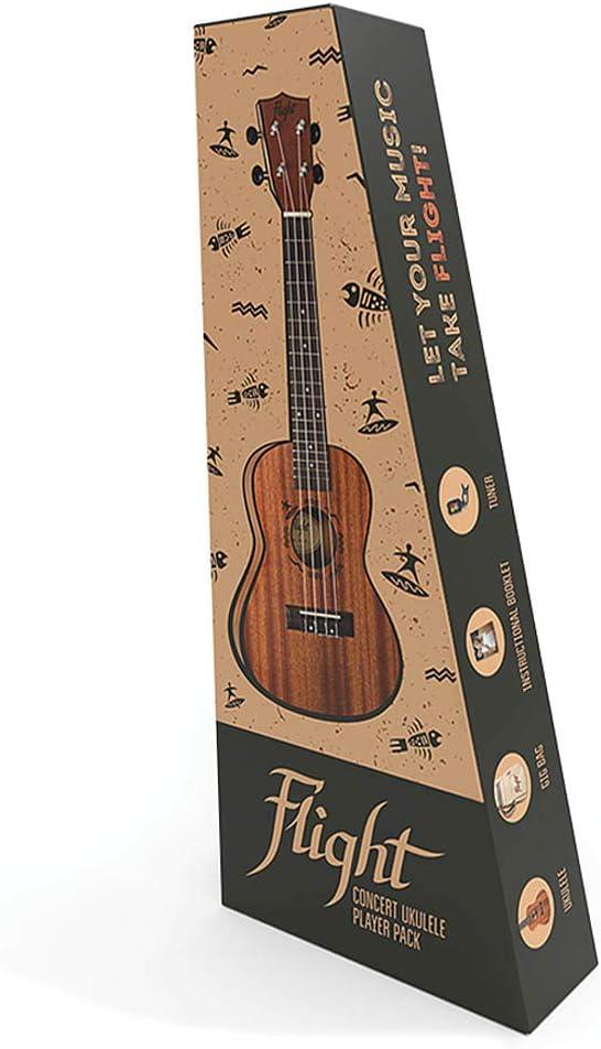 Flight 4-String Sapele Concert Japan Maker New free Ukulele NUC Pack