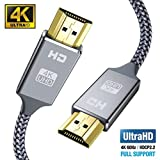 4K Cable HDMI 2 metros, 2.0 Cable HDMI Ultra HD, soporta 4K Ultra HD, 3D, 2160P, 1080P, Ethernet, conectores chapados en oro trenzado de nylon para PS4, XBOX, TV, computadora y monitor