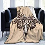 AZVBATT Coffee Deer Skull Soft Throw Blanket All Season Microplush Warm Bed Blankets Lightweight Tufted Fuzzy Flannel Fleece Throw Shawls and Wraps for Sofa Couch