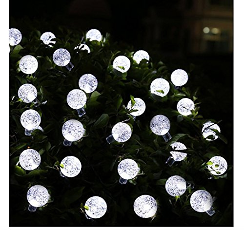 Globe String Lights, CMYK 20 Ft 30 Crystal Balls Waterproof LED Fairy Lights, Outdoor Starry Lights Solar Powered String Lights, Decorative Lighting for Home, Garden, Party, Festival (white)